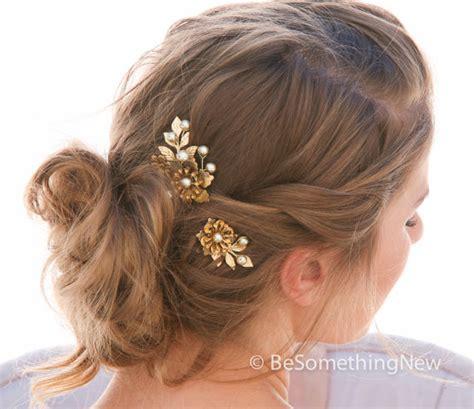 Vintage Leaf Wedding Hair Accessories by Large Vintage Golden Flower Bobbie Pins With Gold Leaves