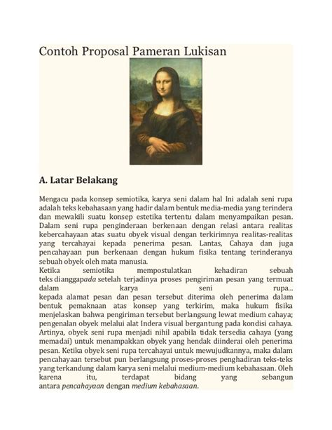 membuat proposal pameran karya seni rupa contoh proposal pameran lukisan