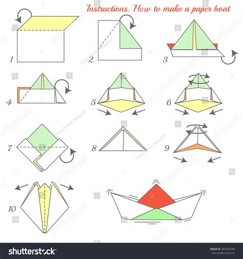 Steps On How To Make A Paper Boat - how make paper ship paper stock vector