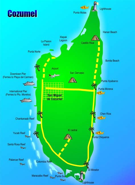 cozumel map conzumel map pictures to pin on pinsdaddy