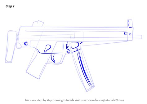 how to draw doodle guns learn how to draw mp5a3 machine gun other weapons step