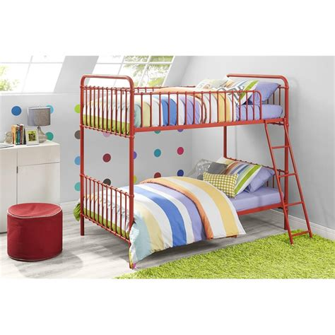 iron bunk beds iron twin bunk bed in red 4003517n