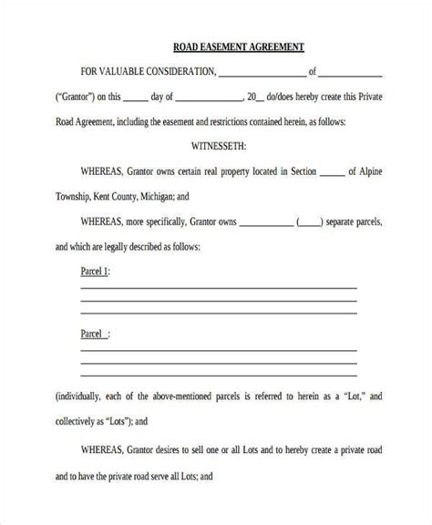 easement template 8 road maintenance agreement form sles free sle