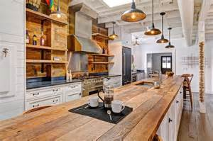 country kitchen with white cabinets and long reclaimed barn wood island ideas pictures remodel decor