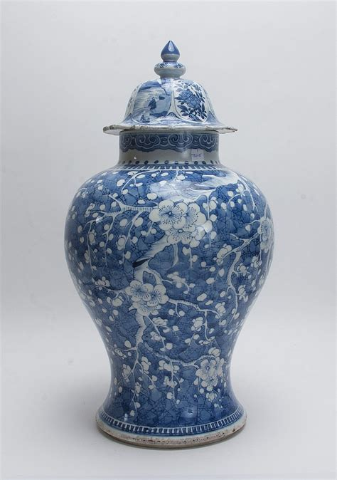 white ginger jar l blue and white lidded ginger jar