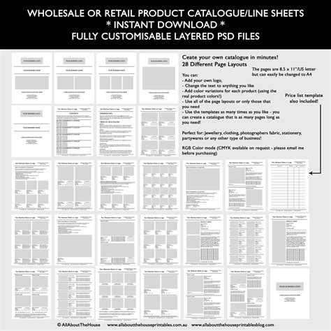 How To Make A Product Catalogue Line Sheet For Your Business Selling To Wholesalers Or Retailers Line Sheet Template