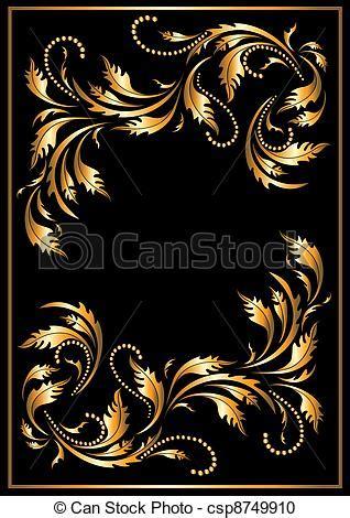cornici gotiche clipart vettoriali di stile gotico cornice oro oro