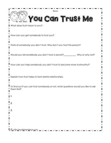 trust worksheet worksheets