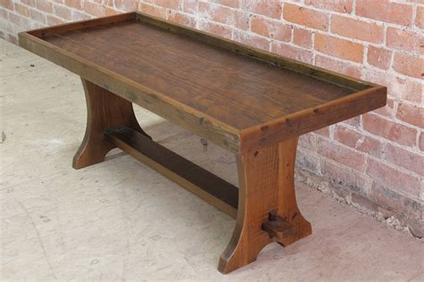 farmhouse table with cushioned bench rustic bench with lip for cushion lake and mountain