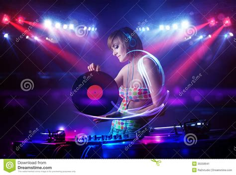 Song Lights by Disc Jockey With Light Beam Effects On