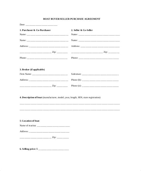 Sle Purchase Agreement Forms 10 Free Documents In Pdf Word Boat Purchase Contract Template