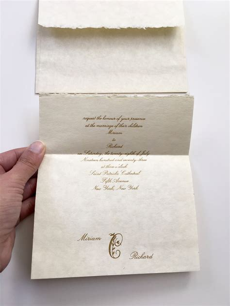 Handmade Paper Wedding Invitations - copper foil wedding invitations on handmade paper