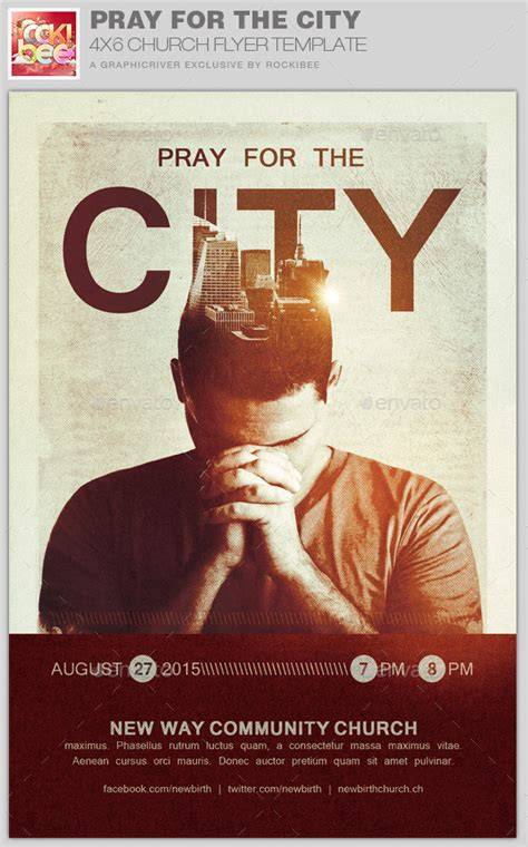 Pray For The City Church Flyer Template By Rockibee Prayer Flyer Template