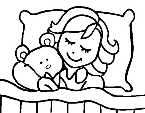 coloring page girl sleeping color online coloringcrew