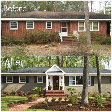 brick ranch exterior makeover before and after quotes