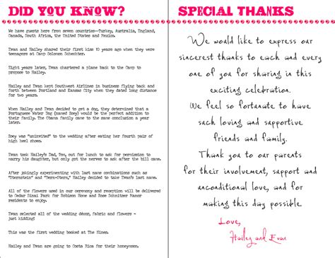 Wedding Ceremony Notes by Do You Know Special Thanks