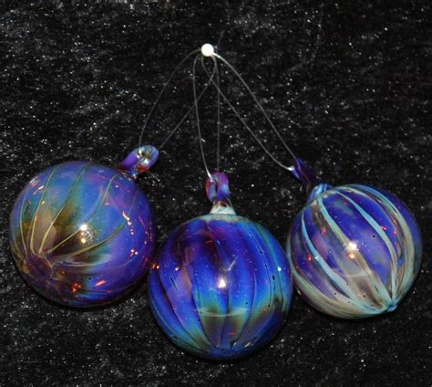Handmade Glass Baubles - glass bauble decorations set of 3 in