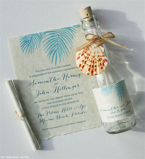 wedding invite message in a bottle palm leaves invitations mospens studio