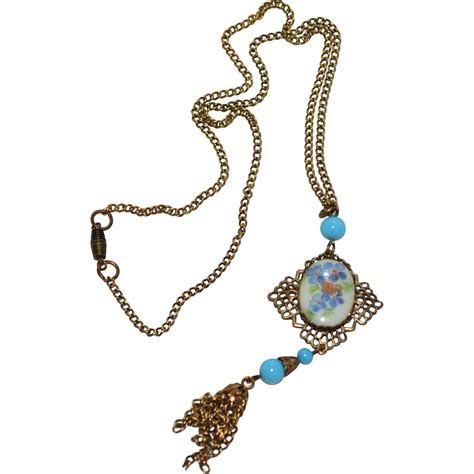 Charm Kc Deco deco era revival turquoise blue glass tassel pendant from kitschandcouture on ruby