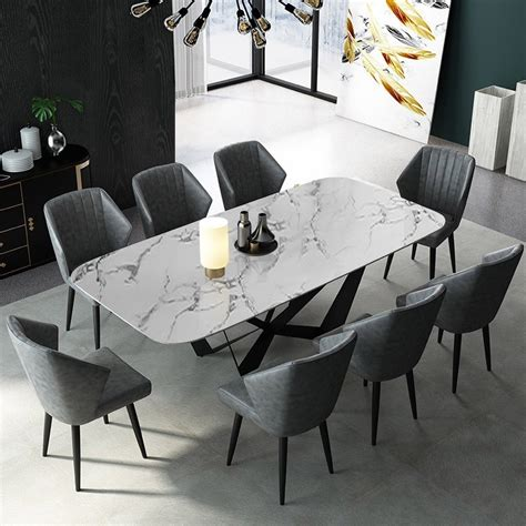modern stylish rectangle white faux marble top dining