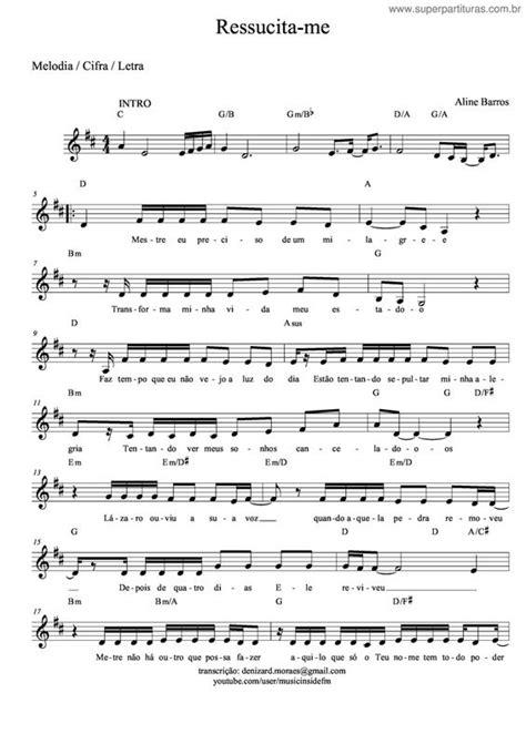 Página que contém a partitura da música Ressucita-me