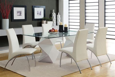 nice italian white leather dining chairs home interior glass modern dining table brucall com