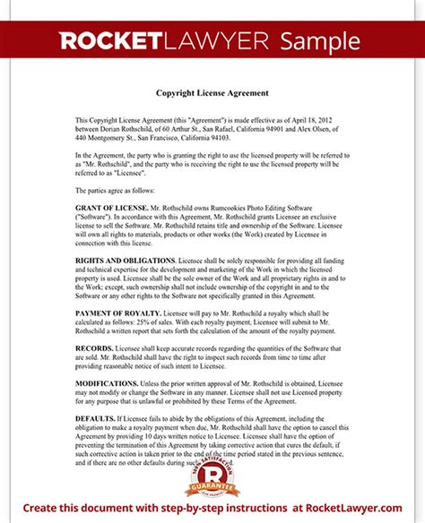 copyright license agreement license copyright template