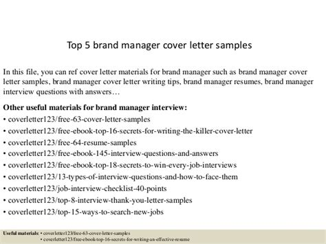 Brand Manager Cover Letter Top 5 Brand Manager Cover Letter Sles