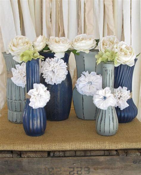 Navy Blue Flower Vases Vases Painted Flower Vases Upcycled Flower Vases