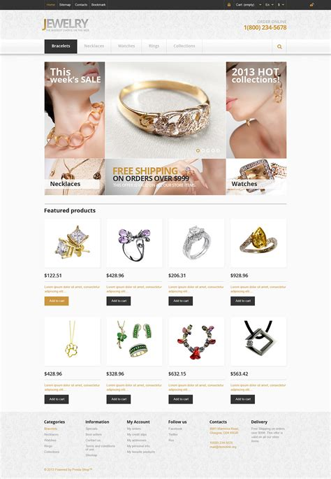 Responsive Jewelry Store Prestashop Theme Web Design Templates Website Templates Download Jewelry Store Website Template
