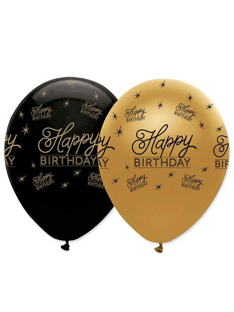 Balon Motif Happybirhtday 6 ballons happy birthday noir et or d 233 coration