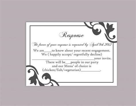Templates Of Rsvp Cards For Wedding by Diy Wedding Rsvp Template Editable Text Word File Instant