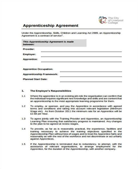 apprenticeship agreement forms ms word