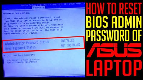 reset bios youtube how to reset bios administrator password of asus laptop