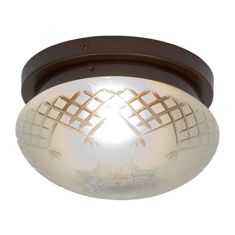 circular glass flush fitting ceiling light with aged