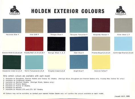 Hoops H 2002 List Orange Original 1968 73 holden and torana paint charts paint panel