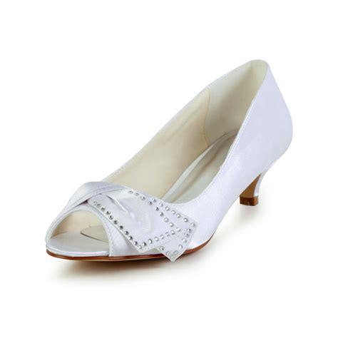 chic peep toe inlaid rhinestone white satin kitten heels