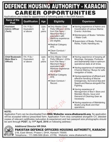 boatswain vacancy assistant admin officer and cheif boatswain job in dha