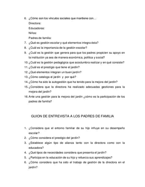 preguntas para una entrevista escolar a un familiar guion de observaci 243 n y entrevista 2