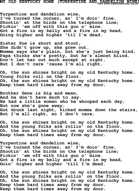 johnny song my kentucky home lyrics