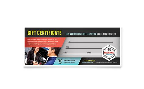 automotive gift certificate template auto mechanic gift certificate template design