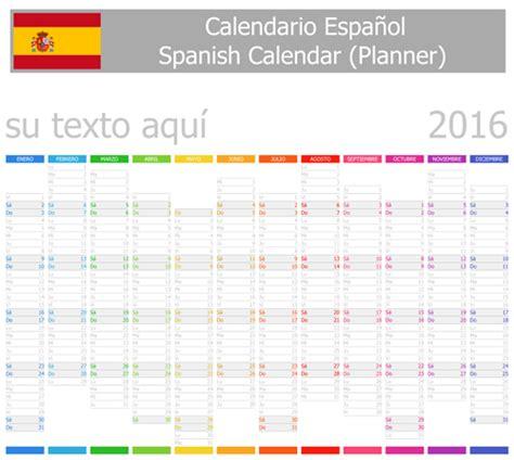 Grid Layout En Espanol | spanish 2016 grid calendar vector material 05 vector