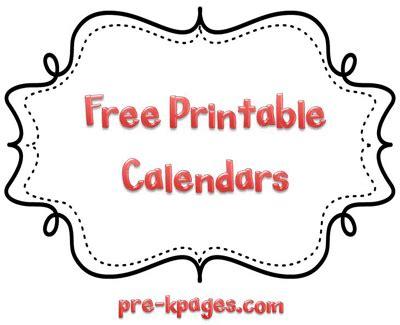 Kindergarten Calendar Templates Free Printable Homework Calendars Preschool Kindergarten