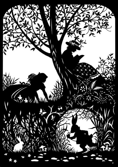 Silhouette Templates For Paper Cutting Items Similar To Alice With Rabbit Paper Cutting On Etsy