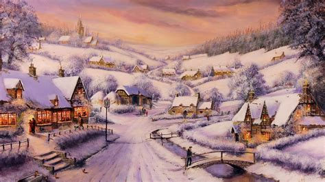 Painting Houses painting winter snow houses road trees people