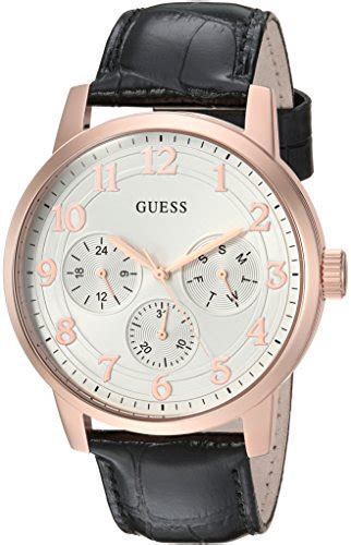 Guess Color Leather Black guess mens quartz stainless steel and leather casual