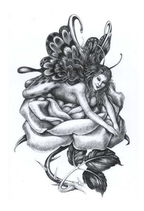fairy and rose tattoo lying on flower design