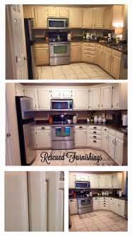 Upcycled Kitchen Cabinets Kitchen Makeover Using General Finishes Antique White Milk