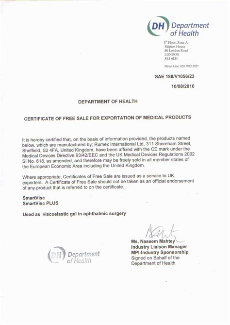 free sale certificate template certificates rumex instruments