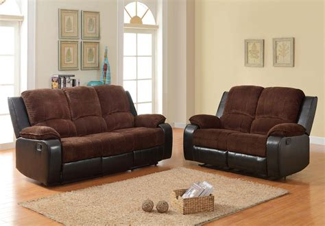 homelegance bunker reclining sofa set chocolate